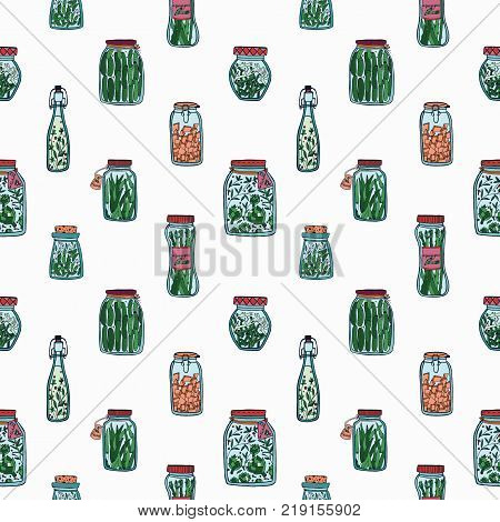 Seamless pattern with pickled vegetables. Backdrop with preserved food ingredients in glass jars and bottles hand drawn on white background. Colorful vector illustration for textile print, wallpaper