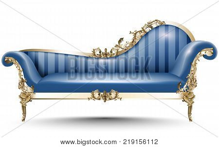 Baroque luxury bench. Rich Imperial style Furniture. Vector realistic 3D design