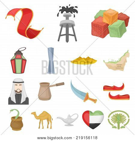 Country United Arab Emirates cartoon icons in set collection for design. Tourism and attraction vector symbol stock  illustration.