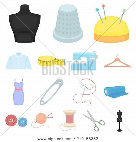 Atelier and sewing cartoon icons in set collection for design. Equipment and tools for sewing vector symbol stock  illustration.