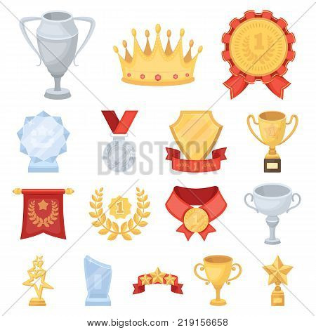 Awards and trophies cartoon icons in set collection for design.Reward and achievement vector symbol stock  illustration.