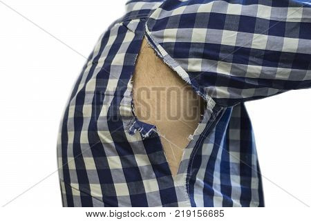 tattered shirt in the armpit. fashion concept