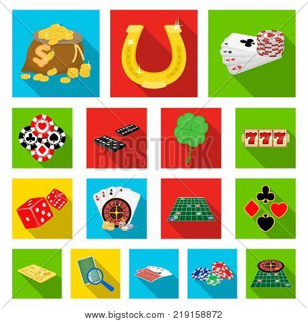 Casino and equipment flat icons in set collection for design. Gambling and money vector symbol stock  illustration.