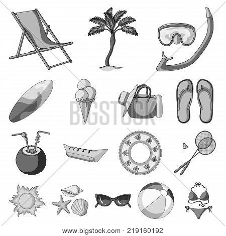 Summer rest monochrome icons in set collection for design. Beach accessory vector symbol stock  illustration.