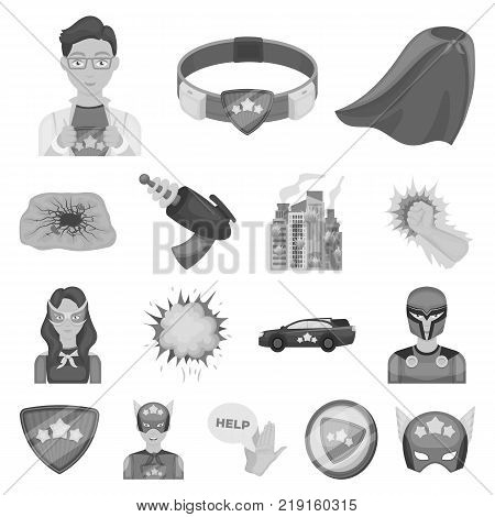 A fantastic superhero monochrome icons in set collection for design. Superhero's equipment vector symbol stock  illustration.