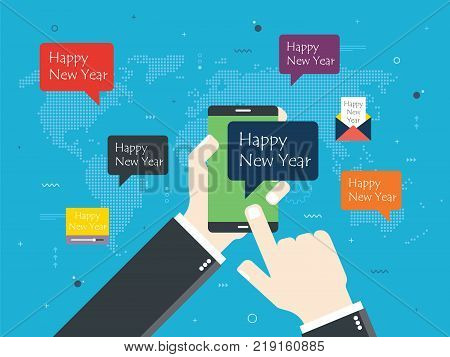 Smartphone With Happy New Year Message