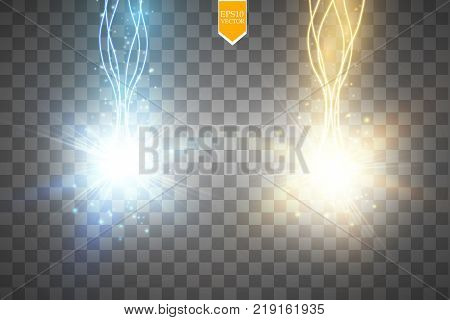 Glow isolated blue and gold transparent effect, lens flare, explosion, glitter, line, sun flash, spark and stars. For illustration template art design, banner for Christmas celebrate, magic flash energy ray. Eps 10