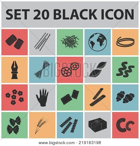 Types of pasta black icons in set collection for design. Figured macaroni for eating vector symbol stock  illustration.