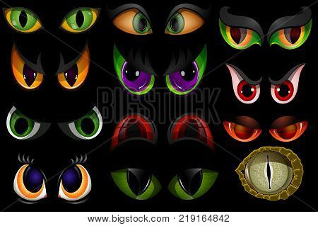 Cartoon vector eyes beast devil monster animals eyeballs of angry or scary expressions evil eyebrow and eyelashes on face scared snake or dracula vampire animal eyesight illustration isolated on black. poster