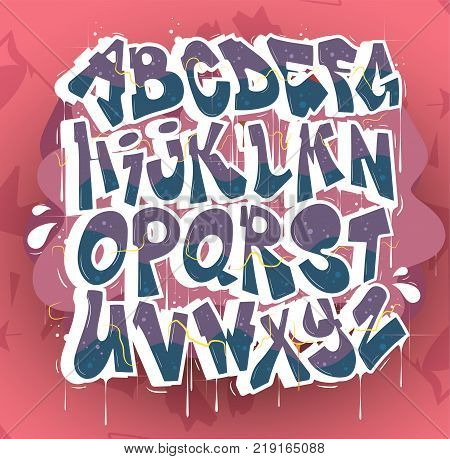 Hip hop vector aplhabet. Typography for poster,t-shirt or stickers