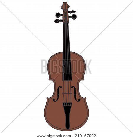 Violin vector illustration. Isolated violin on white background. Vectoe illustration