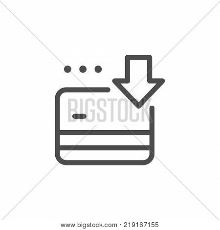 Credit card replenishment line icon isolated on white. Vector illustration
