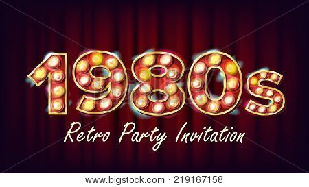 1980s Retro Party Invitation Vector. 1980 Vintage Style Design. Shine Lamp Bulb. Glowing Classic Retro Poster, Flyer, Banner Template. Night Club, Disco Party Illustration
