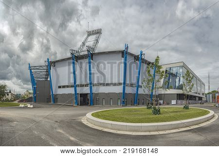 HELSINGBORG SWEDEN - JULY 18 2016: A panoramic stich of the newly refurbished Olympia football stadium which is home to Helsingborg IF.