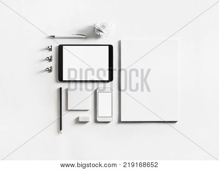 Photo of blank stationery set on paper background. Mock up for branding identity. ID template.