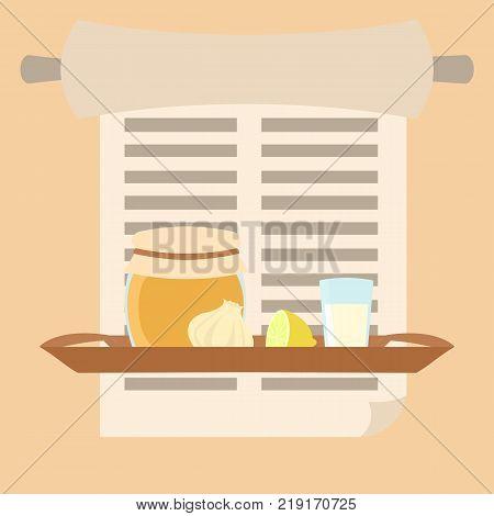 grandma's remedies tray - vector illustration of folk medicine in flat style