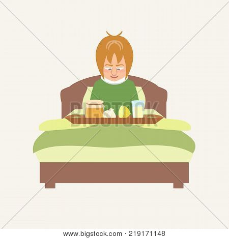 person in bed smiling at grandma's remedies tray -  vector cartoon illustration of home remedies in flat style
