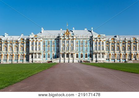SAINT- PETERSBURG, RUSSIA - MAY 08, 2016: The Catherine Palace is a Rococo palace located in the town of Tsarskoye Selo (Pushkin) Saint- Petersburg Russia