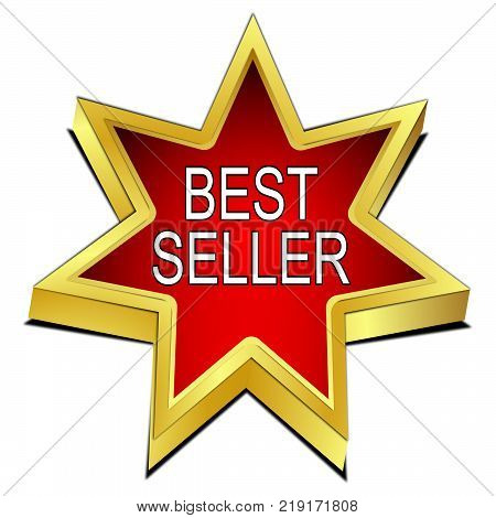 golden  red Bestseller star button - 3D illustration
