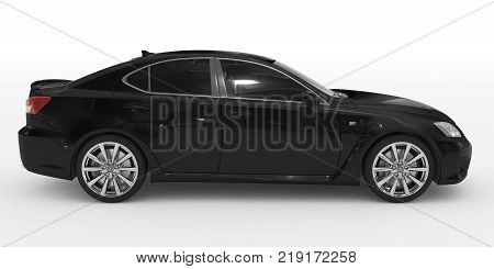 car isolated on white - black paint, tinted glass - right side view - 3d rendering