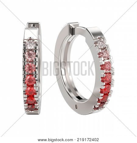 3D illustration isolated white gold or silver decorative earrings hinged lock with red gradient diamonds on a white background