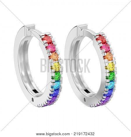 3D illustration isolated white gold or silver decorative earrings hinged lock with colorful diamonds on a white background