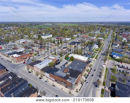 Aerial view of downtown Potsdam, Upstate New York, USA. poster