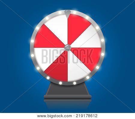 Fortune wheel. Lucky Wheel symbol on blue background with bulbs electric