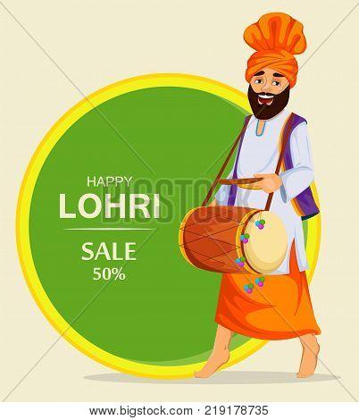 Popular winter Punjabi folk festival Lohri. Sikh man with decorated drum. Banner poster for sale. Vector illustration.