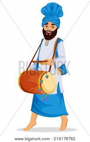 Popular winter Punjabi folk festival Lohri. Sikh man with decorated drum. Vector illustration on white background