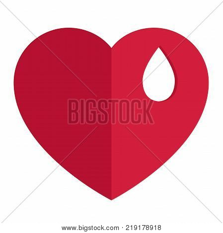 flat vector illustration with a red heart and a white BLOB on it. Layered file. Medical donation. vector illustration of isolated layers on a white background