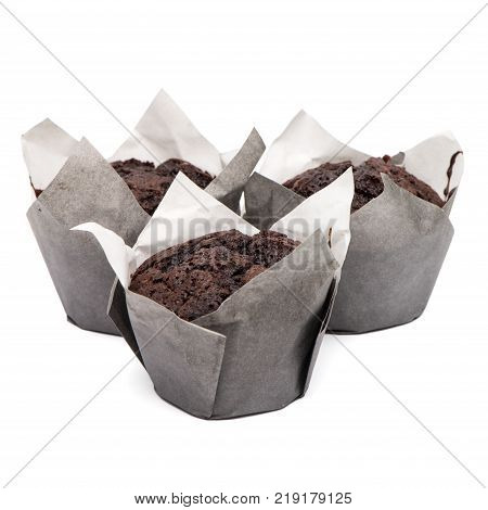 Closeup of a Magdalena Typical Spanish Chocolate Muffin. Sweet Food or Dessert. Three Fresh Baked Muffin Isolated on White Background in American Style. Irresistible Tasty Cake.