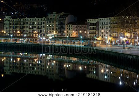 Bilbao, Basque Country, Spain Cityscape At Night