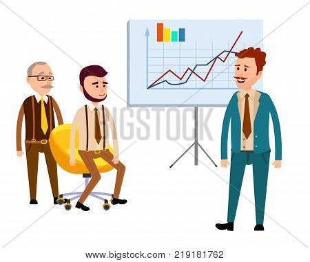 Three businessmen in office with diagrams isolated on white. Man in blue business suit standing near placard with charts, young boy sitting on yellow armchair, old male standing near luxury chair.