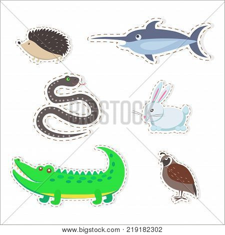 Stickers and icons set of cute wild and domestic animals - Partridge, snake, swordfish, crocodile, hare, hedgehog isolated flat vectors. Bird, mammals, fish and reptiles illustrations outlined with dotted line