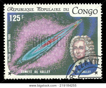Congo - CIRCA 1986: Stamp printed by Congo Color memorable Air mail edition offset printing devoted Halley's Comet shows Edmond Halley 1656-1742 and picture of Space