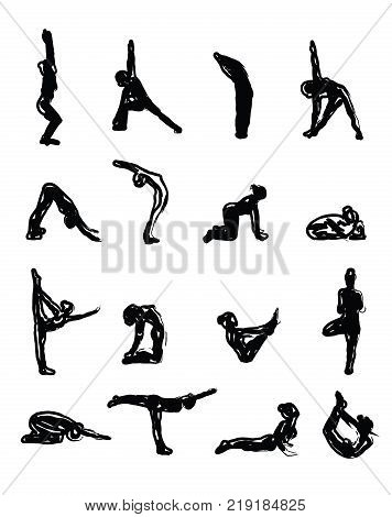 Sketch Yoga Silhouettes in Asanas - vector