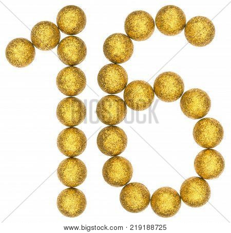 Numeral 16 sixteen from decorative balls isolated on white background