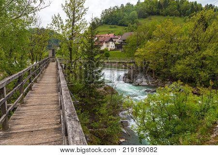 The Devil's Bridge, Wooden Footbridge In Skofja Loka