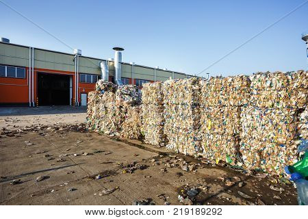 Plastic Bales At The Waste Processing Plant. Separate Garbage Collection. Recycling And Storage Of W