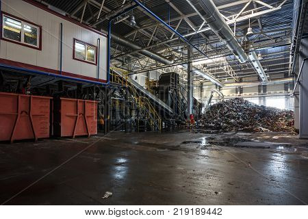 Modern Waste Recycling Processing Plant. Separate Garbage Collection. Recycling And Storage Of Waste