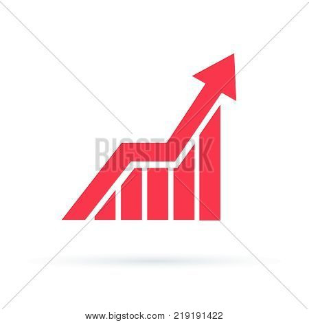 Growing graph icon, vector isolated flat style symbol. Startup concept, Increasing graph design for business graphics and web site. Chart arrow up symbol