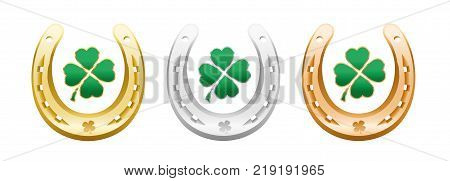 Four leaf clovers in golden, silver and bronze horseshoes - lucky symbols representing success, health, wealth, fortune, luck, happiness and prosperity - isolated vector illustration on white background.