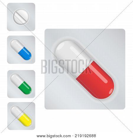 Colorful capsules set. White pills. Pill capsules set. Medicine
