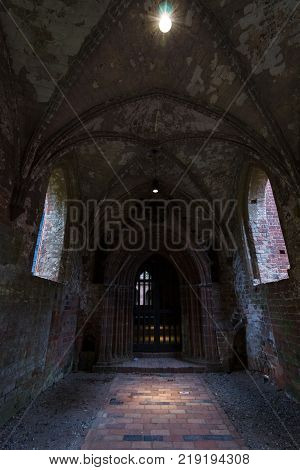 CHORIN GERMANY - OCTOBER 02 2017: An old unrestored part of Chorin Abbey. Cistercian abbey near the village of Chorin in Brandenburg. Founded in 1258.