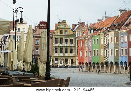 View Of Empty Main Square Stary Rynek At Poznan