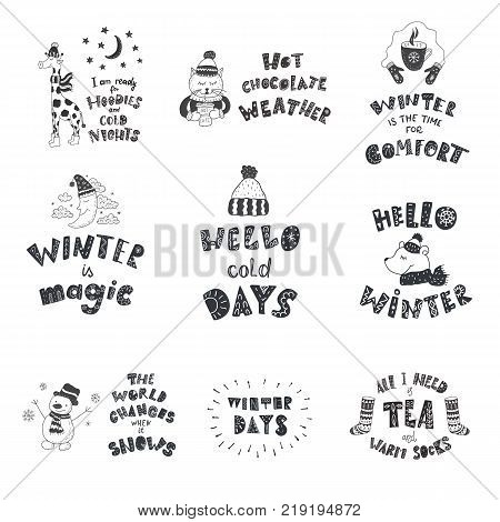 Set of cute animals and winter quotes. Nursery art. Minimalist scandinavian style. Character for kids card, print for t-shirt and more. Hand lettering.