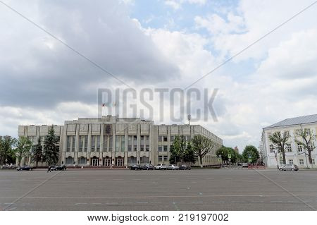 Yaroslavl, Russia. - June 3.2016. The building of the Government of the Yaroslavl Region on the Soviet Square, formerly the building of the regional committee of the CPSU.