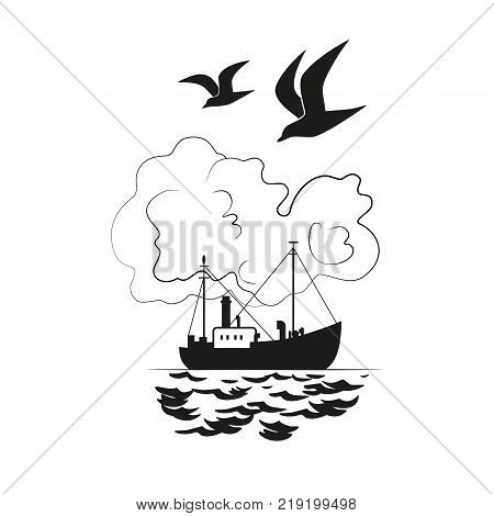 Commercial fishing trawler icon. Ship silhouette on the sea. Side view.Fishermen boat on the ocean. Industrial vessel. Flat black white monochrome simplicity minimalism design. Vector illustration