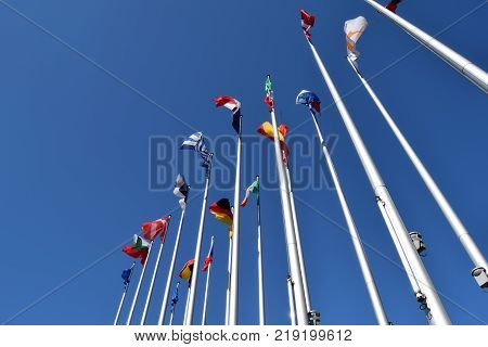 The flags of the EU states wave as a symbol of the union 01